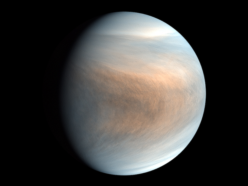 A false-color image of Venus's atmosphere