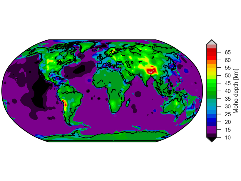 New global map of the depth of the base of the Earth's crust, also called the Moho boundary.