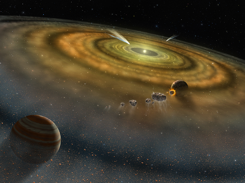 Artist's depiction of a newly forming solar system, which preserves conditions of its birth in isotopes and their ratios for billions of years
