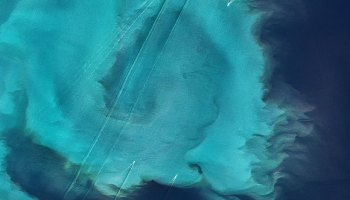 Ships sail across a phytoplankton bloom in the North Sea