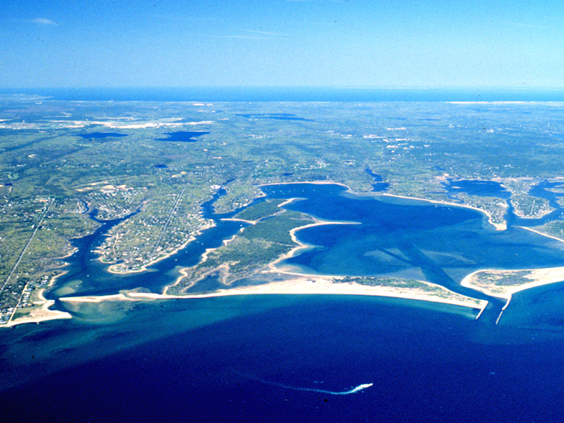 An aerial view of Waquoit Bay, a shallow estuary on Cape Cod, Mass.