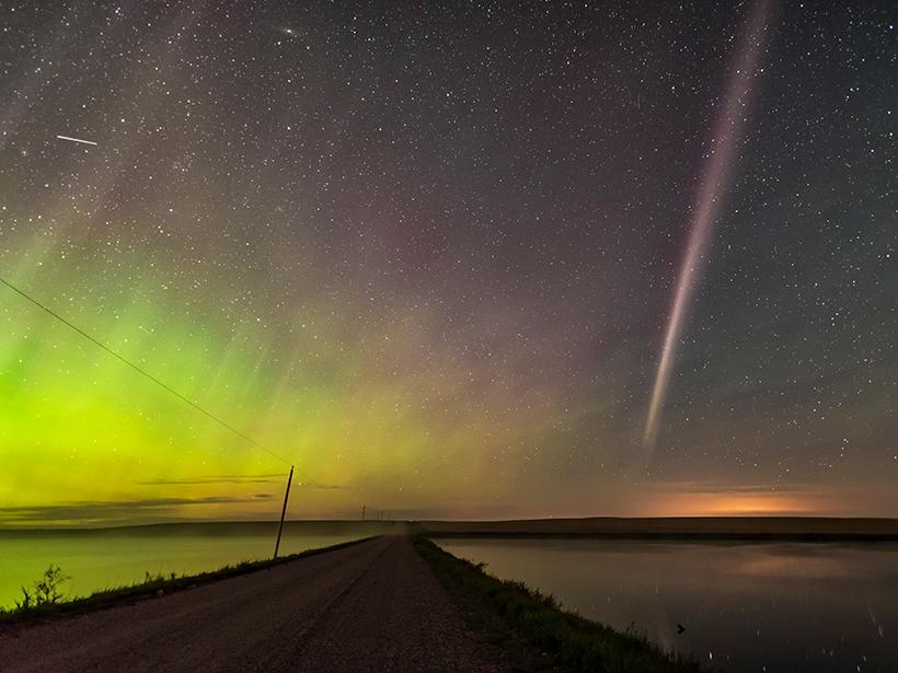 A view of the aurora-like phenomenon dubbed STEVE