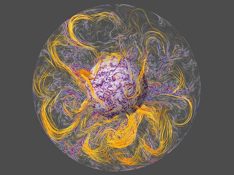 A computer simulation's rendering of the interior of the Earth's core showing magnetic field lines being stretched by turbulent convection.