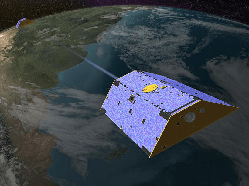 An artist's rendering of the Gravity Recovery and Climate Experiment, or GRACE