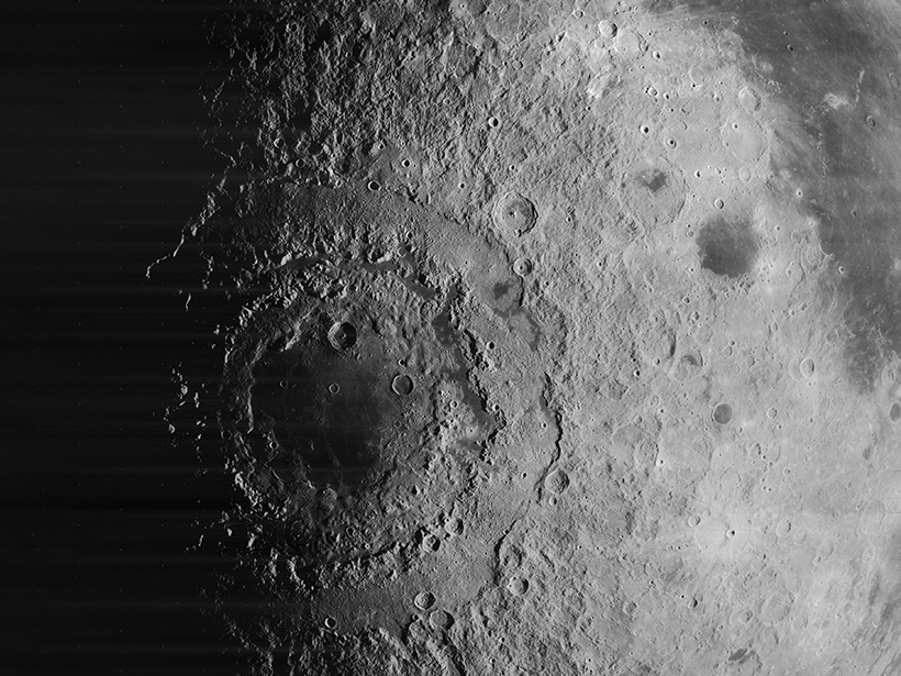A view from Lunar Orbiter 4 of the Orientale basin on the Moon.