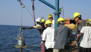 A research team taking sediment cores on Lake Tanganyika in eastern Africa