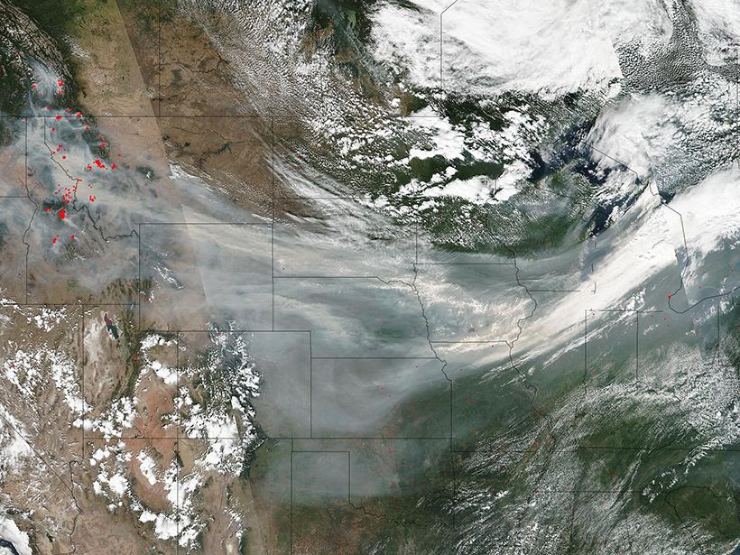 Satellite image of the United States