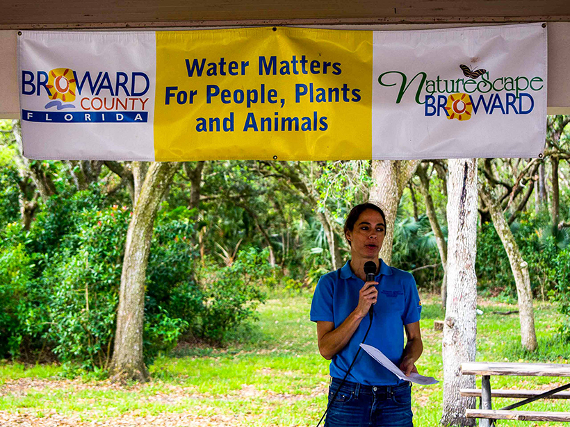 Jennifer Jurado speaks at a Water Matters Day community event.