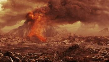 Illustration of an erupting volcano on Venus