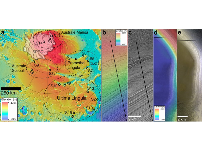 Map and images of South Polar Layered Deposits on Mars