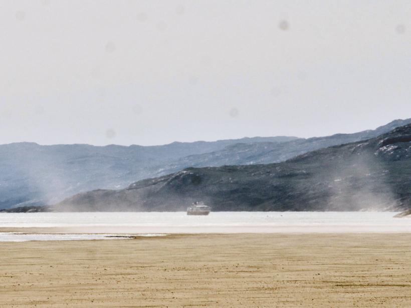 Dust storm in the Greenland Ice Sheet outwash plain near Kangerlussuaq