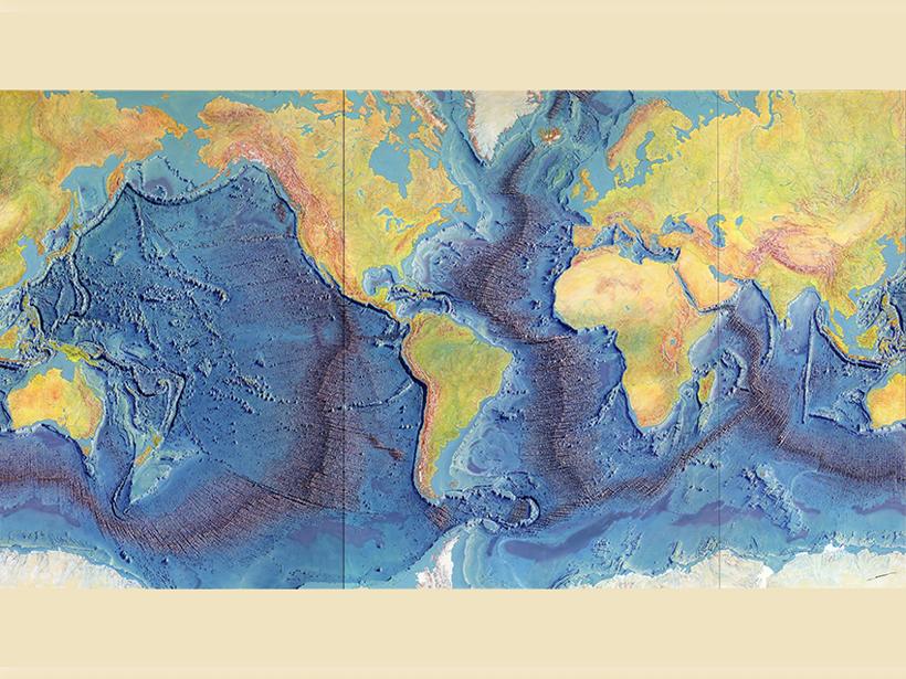 A world map of mid-ocean ridges