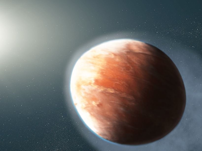 Illustration of oblong planet in front of bright star