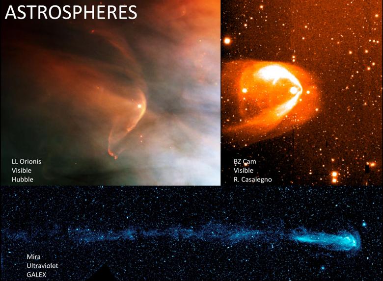 Three stars move through interstellar space within bubbles