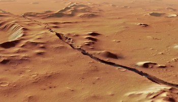 A crust fracture and craters on Mars