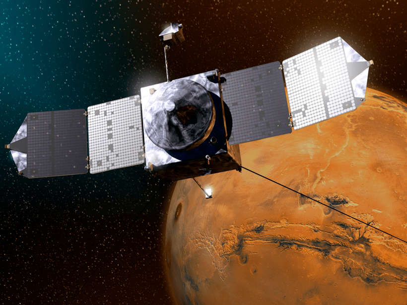 NASA's Mars Atmosphere and Volatile Evolution spacecraft orbits Mars and samples electrons behind the Martian bow shock in this artist's rendition.