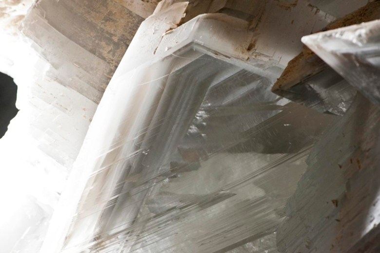 Large clear white gypsum crystals