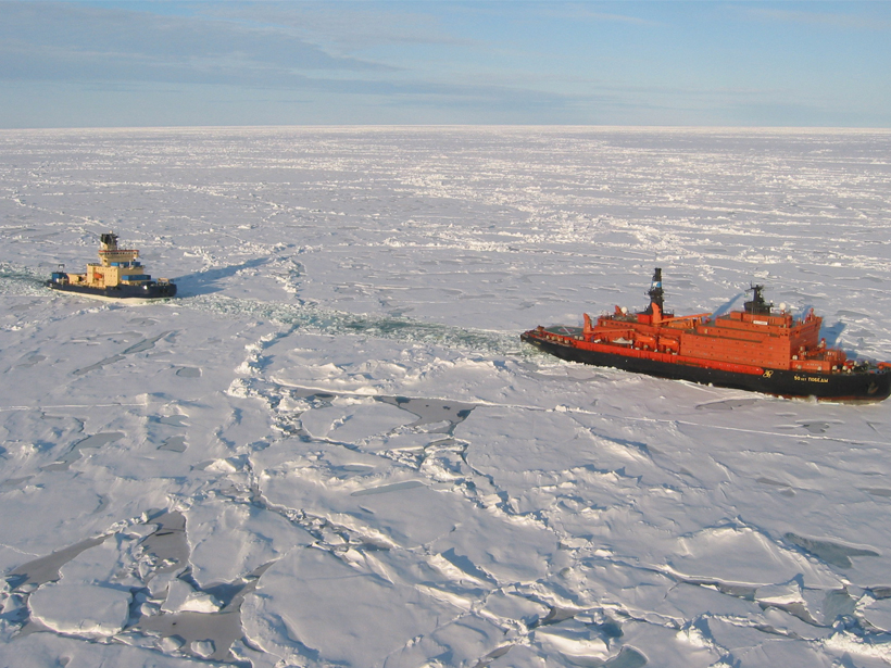 The Swedish icebreaker Oden runs a seismic cable behind the Russian icebreaker 50 Let Pobedy north of Greenland.