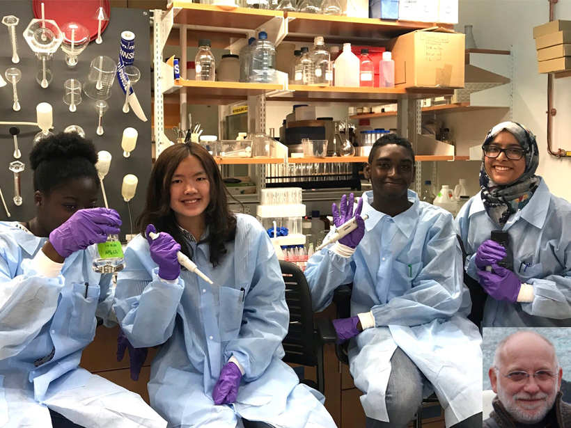 Students participating in Lamont-Doherty Earth Observatory's Secondary School Field Research Program pose for a photo in Lamont's marine microbiology laboratory.