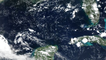 A true-color satellite image of the Gulf of Mexico on 17 July 2019
