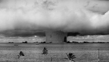 An aerial view of a nuclear explosion carried out in the Bikini Atoll in July 1946