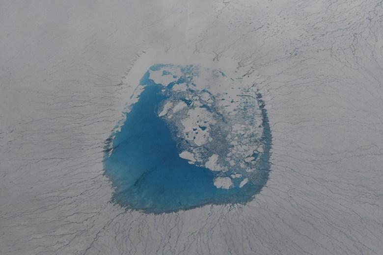 A bird's-eye view of glacial melt lake atop the Greenland Ice Sheet