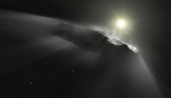 Illustration of the interstellar object 'Oumuamua shedding dust while hurtling toward the distant Sun