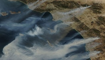 Several large fires burn in Southern California on 22 October 2007 in this satellite image.