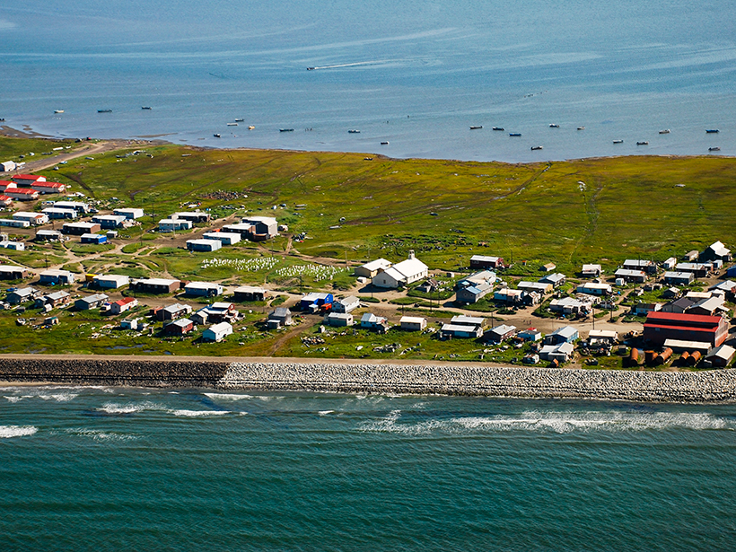 Aerial view of buildings on a narrow spit of land