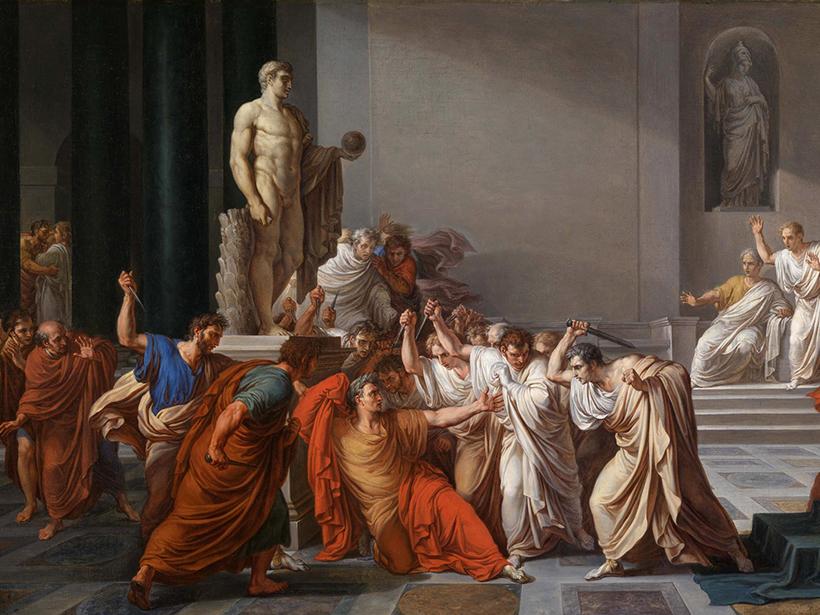 Painting of the death of Julius Caesar