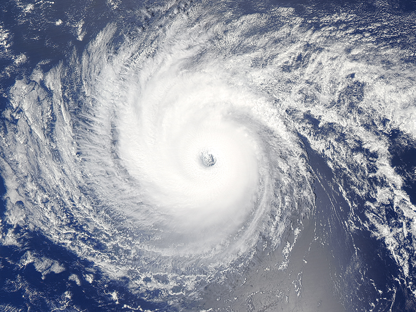 Satellite image of Hurricane Lester on approach to the island of Hawaii