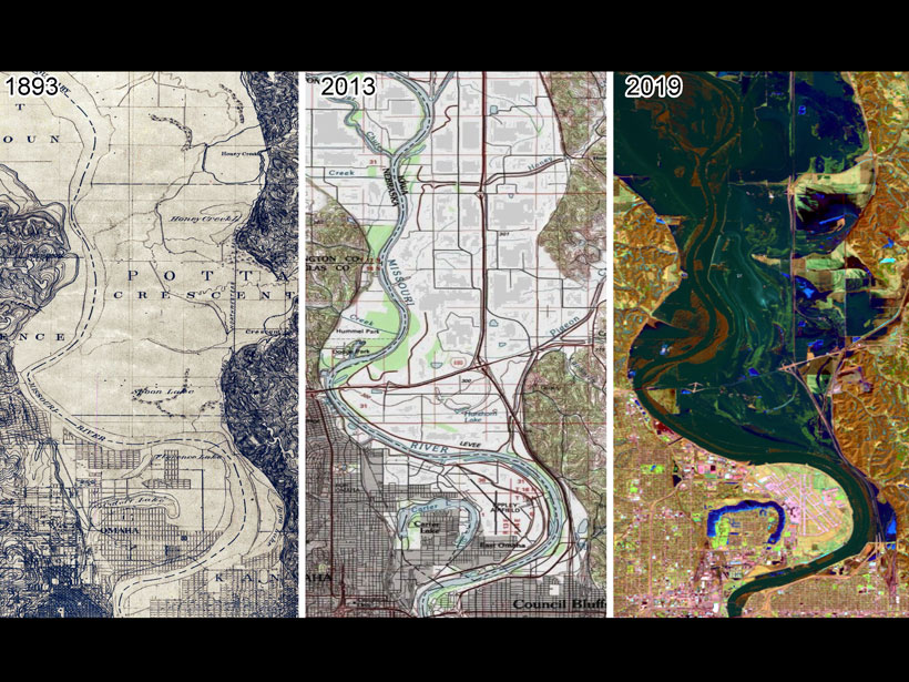 Three-part image showing maps of the Missouri River near Council Bluffs, Iowa, and Omaha, Neb., in 1893 (left) and 2013 (middle) as well as a satellite image of the same area from 2019