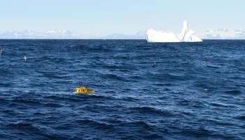 A mooring deployed as part of the Overturning in the Subpolar North Atlantic Program surfaces near the coast of Greenland.