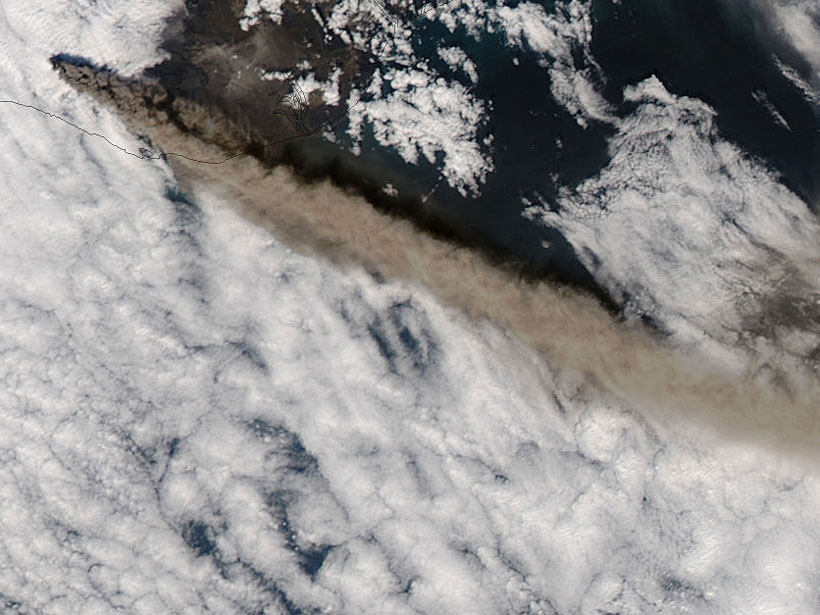 Satellite image of a long plume of ash extending from Eyjafjallajökull, Iceland