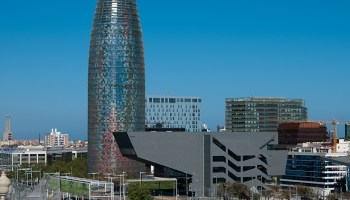 Clear view of Glories Tower in Barcelona