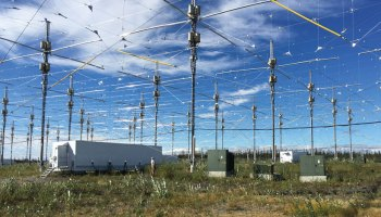 Part of the High-frequency Active Auroral Research Program antenna array in Alaska