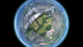 Aerial panorama warped to look like a planet.