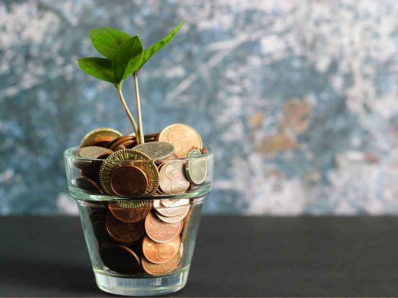 A plant grows out of a cup holding coins