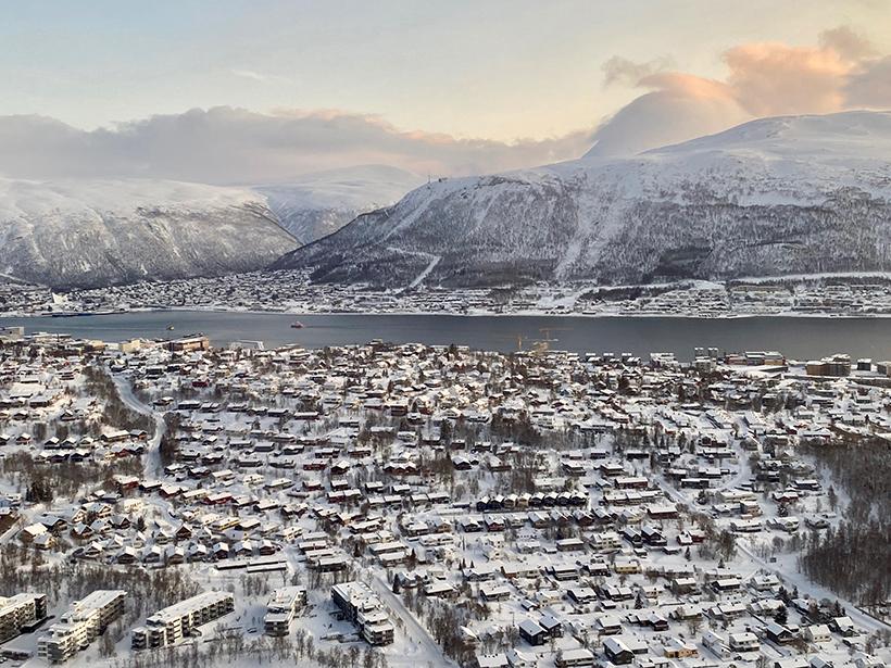 Aerial view of snow-covered Tromsø, Norway