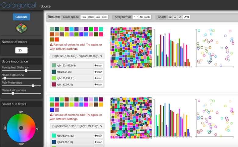 Sample image from the user interface of the colormapping tool Colorgorical