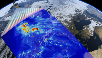 Artist's concept of how Sentinel-5P satellite monitors pollution within the Earth's atmosphere