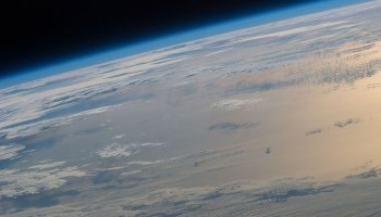 A view of the ocean and clouds from the International Space Station