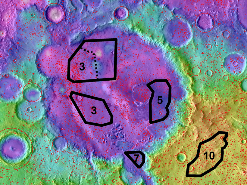 Map of the Gusev Crater region of Mars with craters detected by an algorithm shown in red