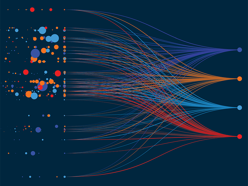 An abstract illustration showing many points of data being sorted along streams.