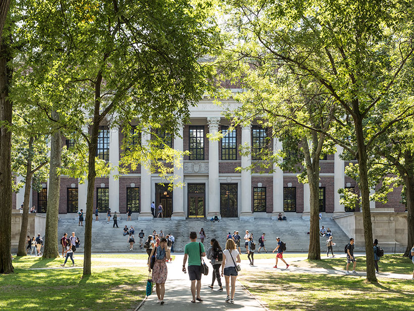 Students on the lawn at Harvard University