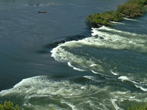 Aerial photo of the headwaters of the White Nile at Jinja, Uganda