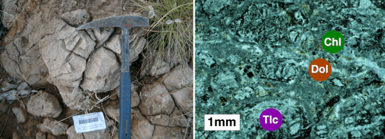 A basalt outcrop in the Pilbara region beside a thin section microscope image of a sample of the rock from the outcrop