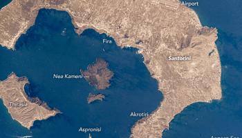 Satellite view of Santorini, Greece