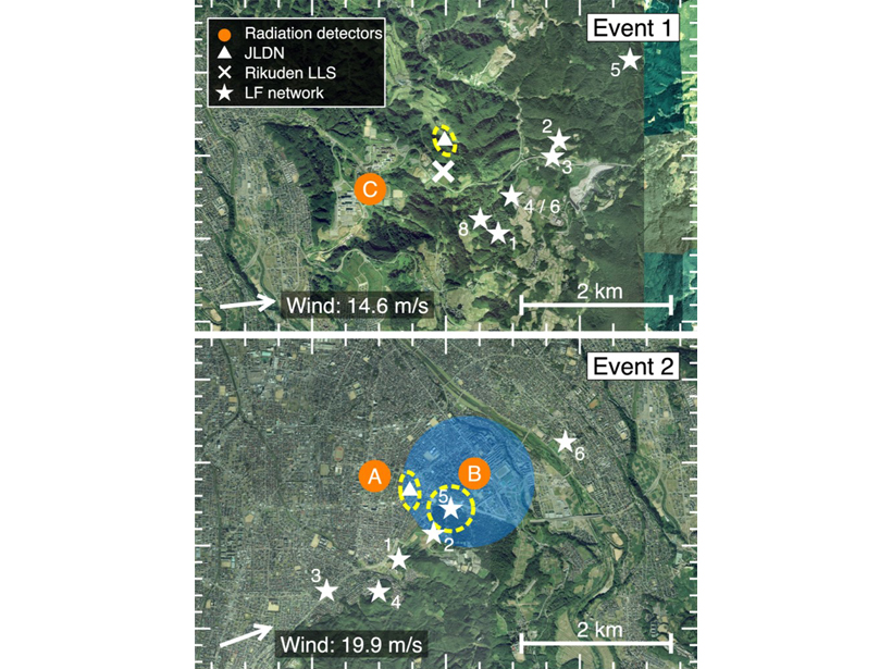 Detector and lightning locations for two observed events in Kanazawa, Japan