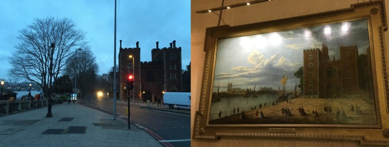 Contemporary photograph and historic painting of Lambeth Palace beside the River Thames in London